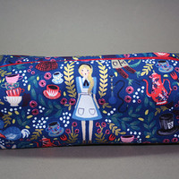Boxy Makeup Bag - Lewis Carroll's Alice's Adventures in Wonderland Dark Blue Metallic Floral Print Pencil Pouch - Anna Bond & Rifle Paper Co
