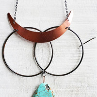 Modern Metal Ring Turquoise Howlite Necklace