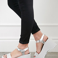Metallic Colorblock Ankle Strap Wedges