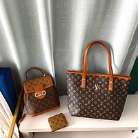 LV Trendy Women's Wild Backpack Shopping Bag Coin Purse Three-Piece Set