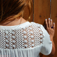 Astrid Way White Woven Knit Top