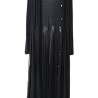 ROMWE | Bohemian Style Flouncing Hem Pleated Black Cardigan, The Latest Street Fashion