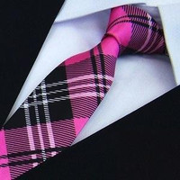 party mens tie fashion Polyester plaid neckties hot pink ties for men