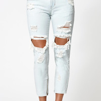 Kendall and Kylie Soul Blue Ankle Zip Ripped Girlfriend Jeans at PacSun.com