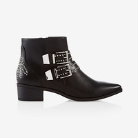 stud embellished buckle ankle bootie