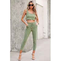 Comfy Occasions Ribbed Two Piece Set (Olive)