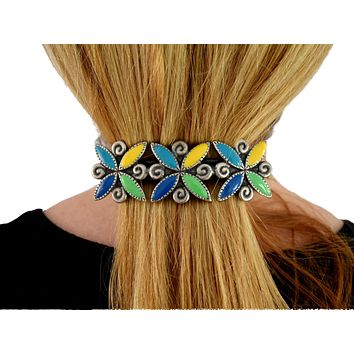 Big 1980s Colorful Enamel French Barrette for Thick Hair