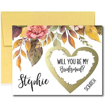 Fall  Will You Be My Bridesmaid Scratch Off Cards