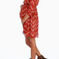 Rust Beige Chevron Print Maternity Dress