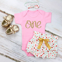 Girls 1st Birthday Outfit | Coral, Mint & Gold Confetti High Waisted Bloomers and Pink Onesuit w/ Knotted Headband | Gold 'One' w/ Gold Arrow