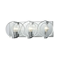 Clasped Glass 3-Light Vanity Sconce in Polished Chrome with Clear Beveled Glass