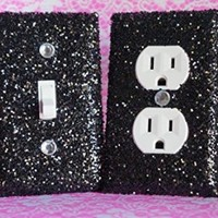 CHUNKY BLACK GLITTER SWITCH PLATE & OUTLET COVER. Set of 2. ALL Styles Available!