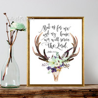 But as for me and my house we will serve the Lord, Bible verse antlers and mint flowers, Christian family gift, Bible wall art printable