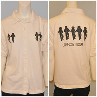 """Vintage 1990's Line Dancing Polo Shirt with Button Front """"Liner-Cise Troupe"""" Cowboy Cowgirl Top Short Sleeve Women's Size Medium Off-White"""