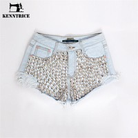 Rivets Style Jeans Shorts Women's Vintage Tassel Ripped Loose High Waisted Trousers Punk Sexy Woman Denim Shorts