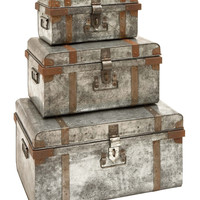 Galvanized Trunk with Rivets and Metal Strips Set of 3