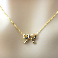 Small gold ribbon necklace, bow necklace, small ribbon, gift necklace, jewelry, birthday gift, dainty, minimal, jewelry