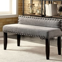 Herstal III collection grey linen like fabric padded seat and back with nail head trim bedroom bench