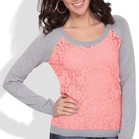 Raglan Sweater with Floral Lace Body and Crew Neckline
