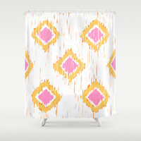 Simple, Painterly Ikat With Pink, Light and Dark Orange Shower Curtain by K_c_s