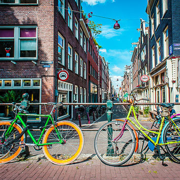 Bikes, Amsterdam, Surreal, Color Photography, Urban, Europe, Cityscape, Home Decor, Fine Art Photography, Art