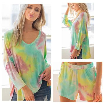 Cozy Tie Dye 3/4 Sleeve Top and Shorts Lounge Set