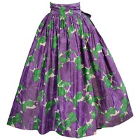 Yves Saint Laurent Couture Silk Taffeta Lavender Cabbage Roses Evening Skirt