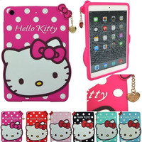Cute Cartoon 3D Hello Kitty Soft Silicone Cover Case Fr iPad 2 3 4 Kid Gift with Screen protector &pen 1pc free shipping