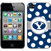 """""""Brigham Young Polka Dots"""" Brigham Young design on iPhone 4s / 4 Thinshield Snap-On Case by Coveroo in Black"""