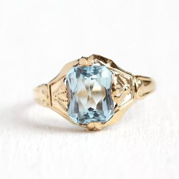 Vintage Topaz Ring - 10k Yellow Gold Genuine Icy Blue 1.65 CT Gemstone - Size 6 Art Deco 1930s OB Ostby Barton Fine Titanic Jewelry