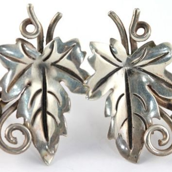 intage Mexican Taxco Sterling Silver Damaso Gallegos Grape Leaf Screw Back Earrings