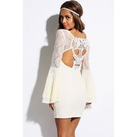 beige lace retro bell long sleeve skull cut out back party mini dress - Clubwear -AFFORDABLE SEXY PARTY DRESSES, CLUBWEAR 21