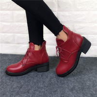 2016 New Fashion Women's Lace Up Combat Punk Ankle Martin Boots Female Shoes Autumn Winter Hot Sell Women  Boots plus size 34-43