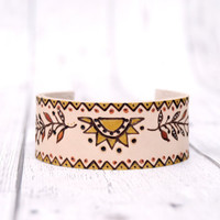 Leather bracelet // Leather cuff //  Woman leather bracelet //Cuff bracelet for her // Bohemian leather bracelet // Gift for her
