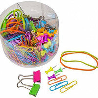 PuTwo Kit Pushpins, Paper Clips, Binder Clips, Rubber Bands, Multiple Color (Pack of 2)