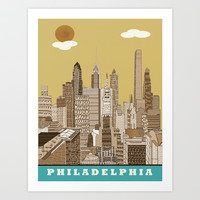 Philadelphia skyline vintage Art Print by bri.buckley