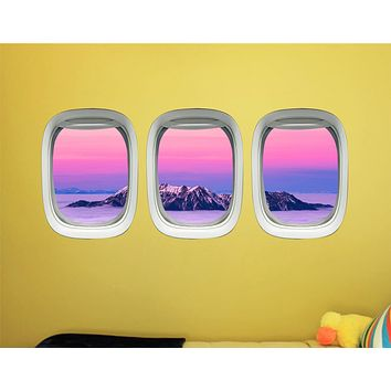 Airplane Decals For Boys Room - Aviation Wall Decor For Kids, Plane Window Clings -PPW41