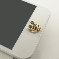 Gift for Men or Boy 1PC Bling Crystal Retro Alloy Owl Cell Phone Home Button Sticker Charm for iPhone 4s,4g,5,5c