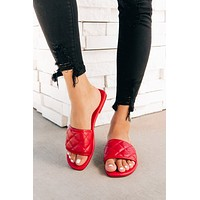 Queen Of The Court Quilted Slides (Red)