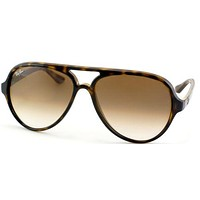 Ray Ban RB 4125 Cats 5000 710/51 Tortoise Plastic Aviator Sunglasses