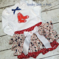 Girls Boston Redsox Baseball Outfit, Baby Girls Coming Hone Outfit, Baby Shower Gift, Game Day Outfit