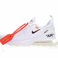 "Off white x Nike Air Max 270 ""White"" Men Women Running Sneaker AH8050-100"