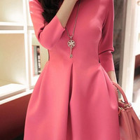 Plum Quarter Sleeved Godet Design Dress
