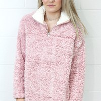 Cozy Up 2-Tone Sherpa Zipper Pullover {Blush}
