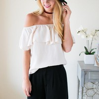 Pretty Lady Off The Shoulder Ivory Top