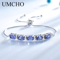 UMCHO Oval Created Tanzanite Bracelets & Bangles Real 925 Sterling Silver Charm Bracelets For Women Free Expansion Fine Jewelry