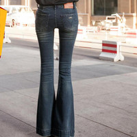Feminino Skinny Denim Jeans High Waist Woman Wide Leg Slim Softener Flare Pants Pantalon Retro Skinny Cotton Femme Denim Mujer