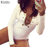 ZANZEA Long Sleeve Bodysuit Short Overalls Ladies Lace Up