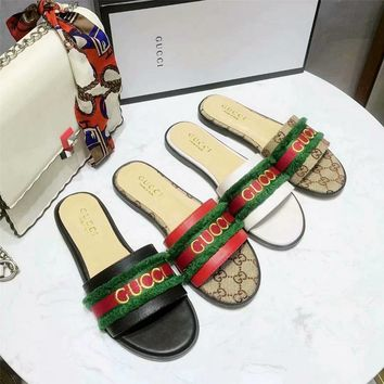 GUCCI Women Fashion Genuine Leather Casual Sandals Slipper Shoes