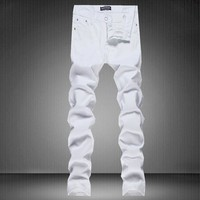 Summer Men Casual Korean Slim White Pants [6544719427]